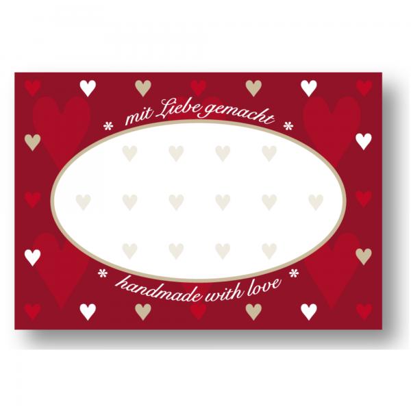 Etiketten «Mit Liebe gemacht» (rot)
