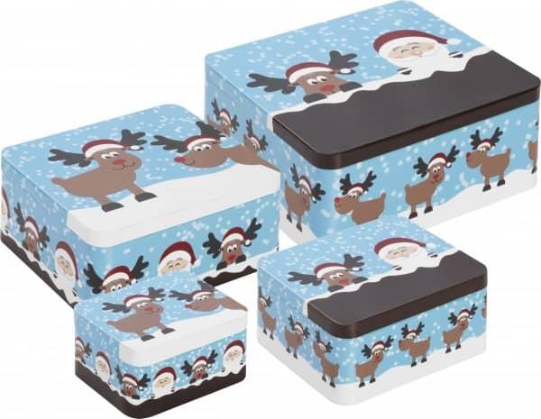 Gebäckdosen-Set «Santa und Rentier> (4-tlg.)