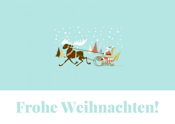 Hellblau-Illustriert-Rentier-und-Santa-Weihnachten-Postkarte